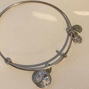 Alex and Ani Silver white crystal bangle bracelet